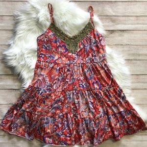 FREE PEOPLE Floral Beaded Sun Dress